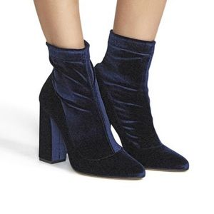 Tamara Mellon Blue Velvet Sock Boots